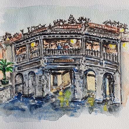 Pont Japonais de Hoi An – Aquarelle réalisée par Jean-Claude V