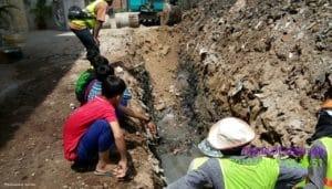 Construction d'un drainage à Phnom Penh