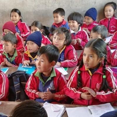 Enfants de l'école de Jalupa à Gongabu au Népal