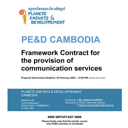 PE&D – Framework Contract to recruit a Communication Services Provider in Cambodia