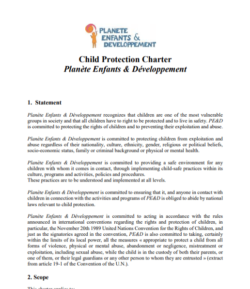 PE&D Child protection charter