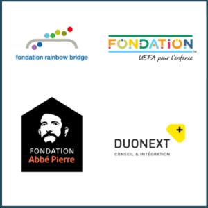 Logos de quatre partenaires de Planète Enfants & Développement