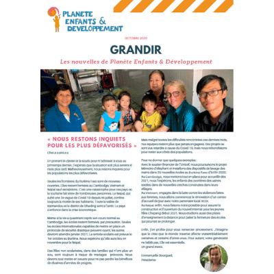 1ere page de la Newsletter d'octobre de Planète Enfants & Développement