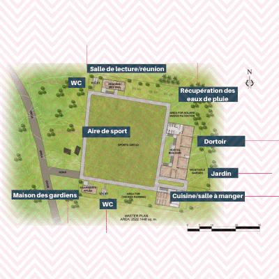 Plan du site pour la construction de l'internat pour jeunes filles Chepang au Népal