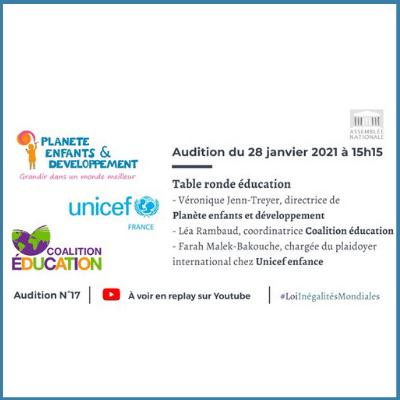 Invitation audition du 28 janvier 2021 sur loi inégalités mondiales